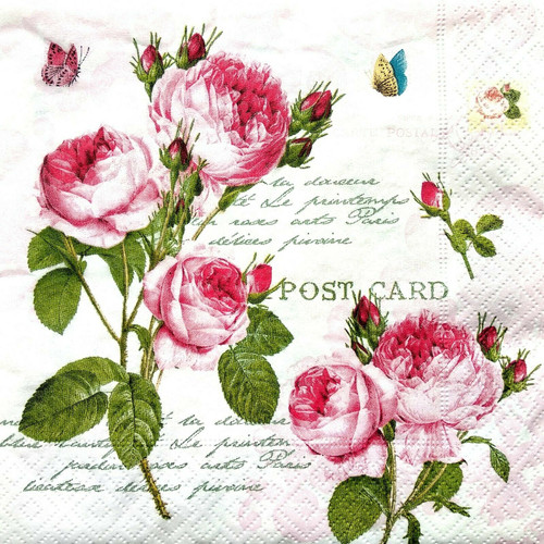 4  Vintage Paper Napkins , Lunch, Table , for Decoupage    -  Roses Splash 1