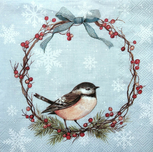4  Vintage Paper Napkins , Lunch, Table , for Decoupage    -  Winter Bird