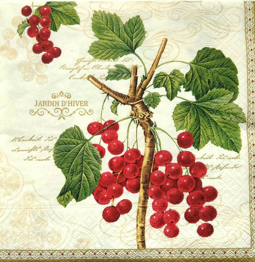 4  Vintage Paper Napkins , Lunch, Table , for Decoupage    -    Red Currants