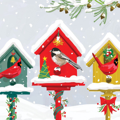 4 Lunch Paper Napkins for Decoupage Craft Vintage Napkin Christmas Collage Birds