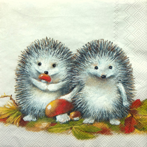 4  Vintage Paper Napkins , Lunch, Table , for Decoupage    -   Happy Hedgehog