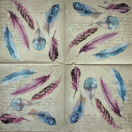4 Single Lunch Paper Napkins Vintage - Beige Feathers