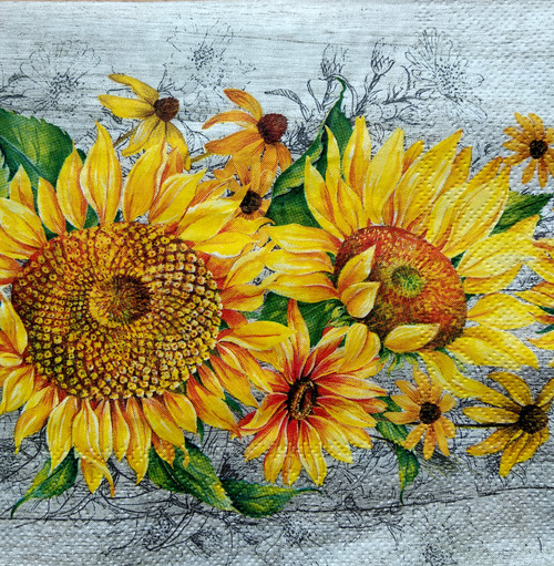 4  Vintage Paper Napkins , Lunch, Table , for Decoupage    - Beauty Sunflowers