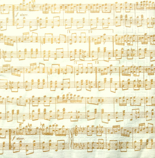 4  Vintage Paper Napkins , Lunch, Table , for Decoupage    -  Gold Music