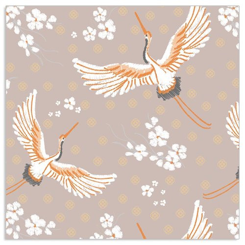 4  Vintage Paper Napkins , Lunch, Table , for Decoupage   - Beige Cranes, Bird