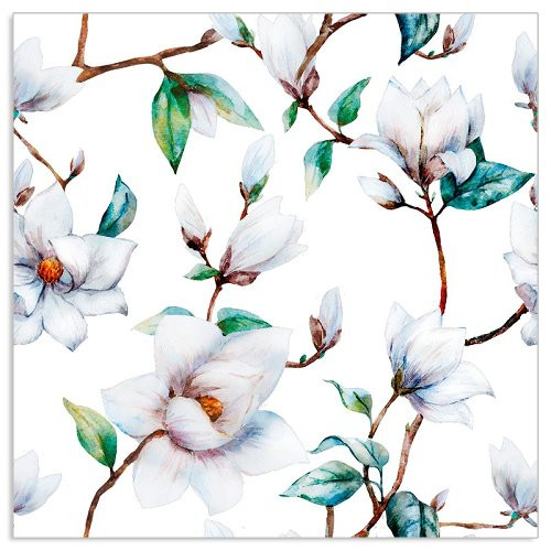 4  Vintage Paper Napkins , Lunch, Table , for Decoupage  - White Magnolias