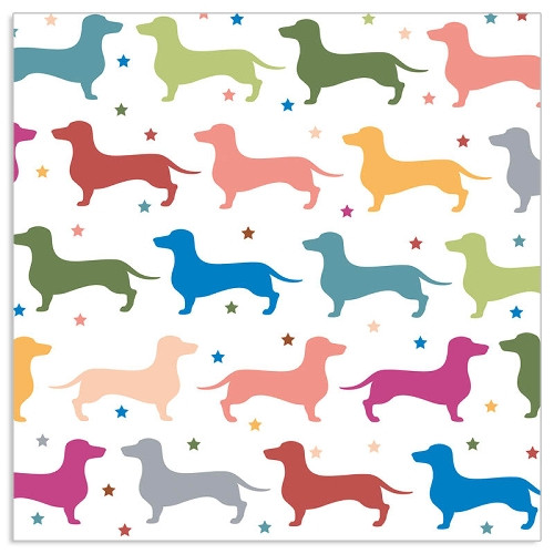 4  Vintage Paper Napkins , Lunch, Table , for Decoupage  -  Colorful Dachshund