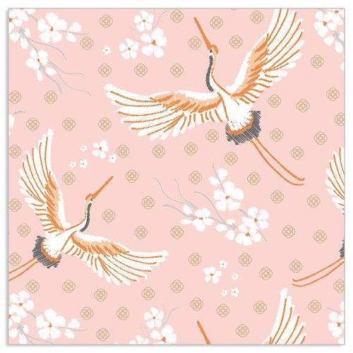 4  Vintage Paper Napkins , Lunch, Table , for Decoupage   -   Pink Cranes, Birds