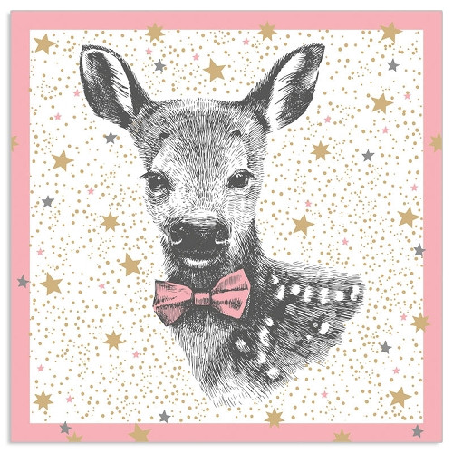 4 Single Lunch Paper Napkins Vintage - Pink Baby Fawn