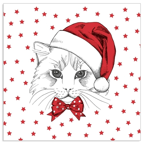 4  Vintage Paper Napkins , Lunch, Table , for Decoupage  -   Christmas Red Cat