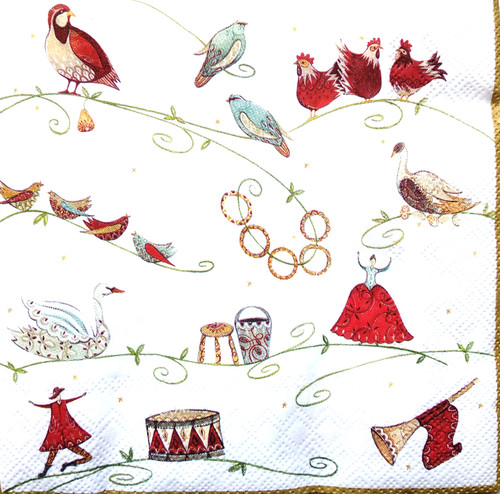 4 Single Lunch Paper Napkins Vintage - Christmas Dancing