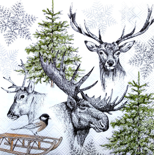 4 Single Lunch Paper Napkins Vintage - Winter Deer Grey