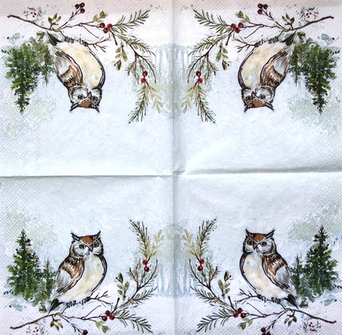 4 Single Lunch Paper Napkins Vintage - Winter Owl
