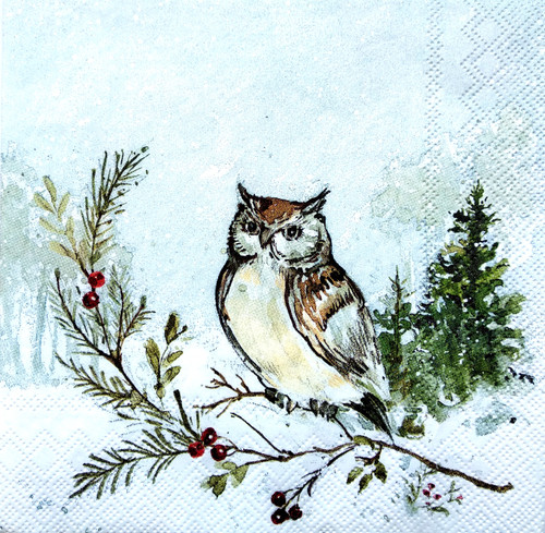 4  Vintage Paper Napkins , Lunch, Table , for Decoupage  - Winter Owl
