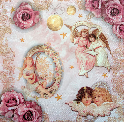 4 Single Lunch Paper Napkins Vintage - Christmas Angels