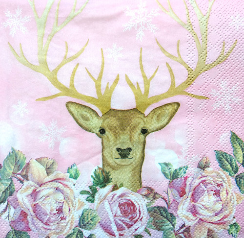 4 Single Lunch Paper Napkins Vintage - Pink Deer, Fawn