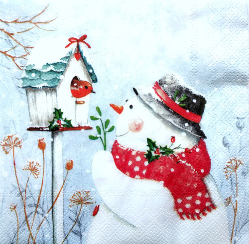 4  Vintage Paper Napkins , Lunch, Table , for Decoupage  -    Snowmen and Bird