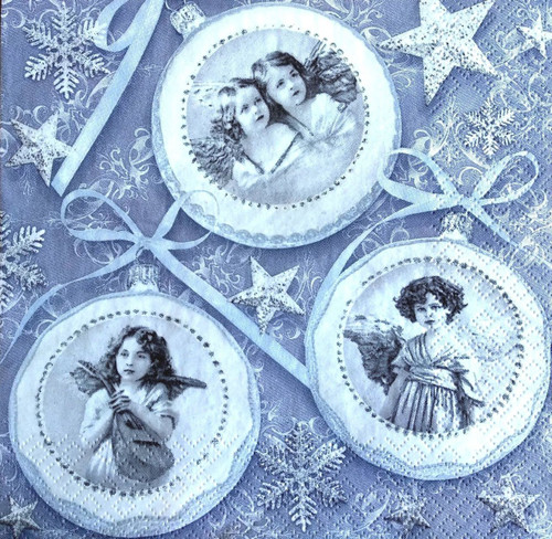 4 Lunch Paper Napkins for Decoupage Party Table Craft Silver Photos of Angels