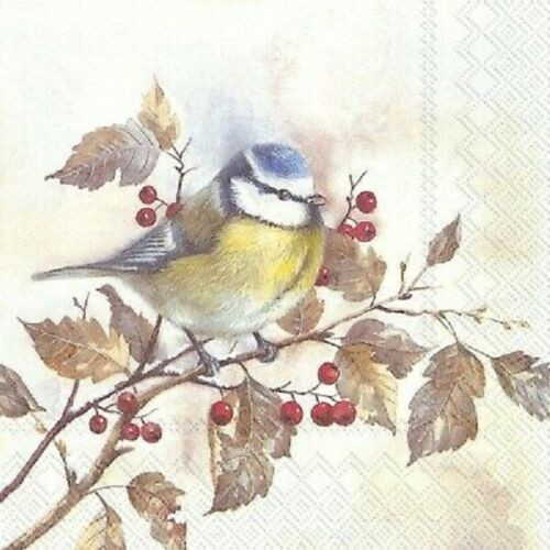 4  Vintage Paper Napkins , Lunch, Table , for Decoupage  -   Bird on the Tree