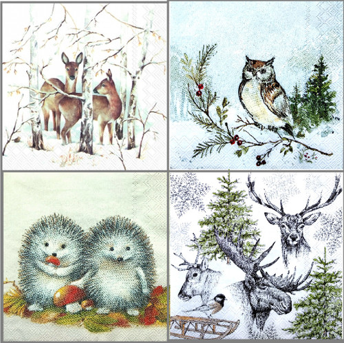 4 Different   Vintage Paper Napkins , Lunch, Table , for Decoupage  -Christmas Animals  1/2