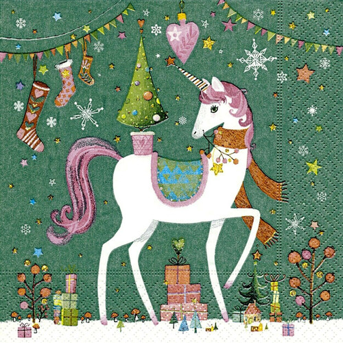 4  Vintage Paper Napkins , Lunch, Table , for Decoupage  -  Xmas unicorn