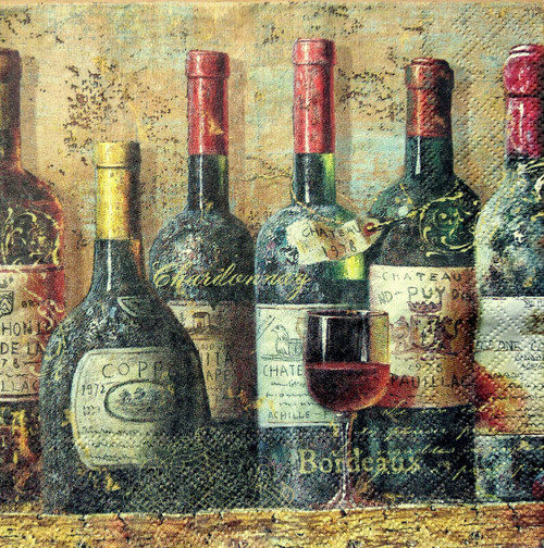 4  Vintage Paper Napkins , Lunch, Table , for Decoupage  - Old Bottles of Wine