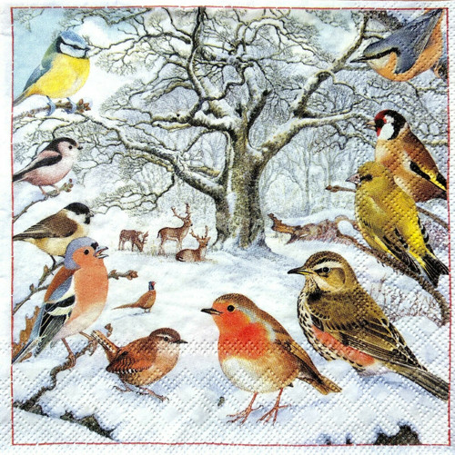 4 Single Lunch Paper Napkins Vintage - Winter Birds