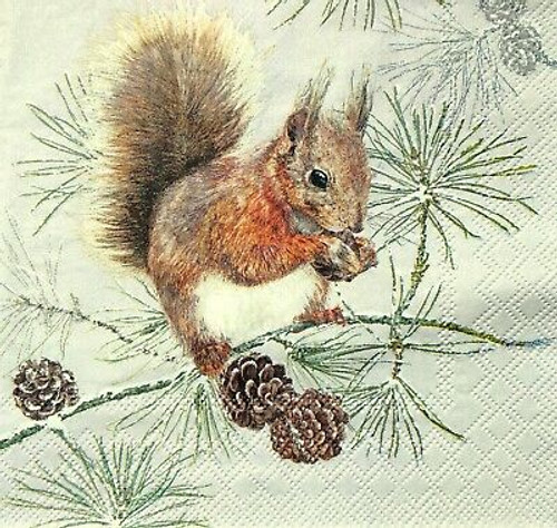 4  Vintage Paper Napkins , Lunch, Table , for Decoupage  - Winter Squirrel