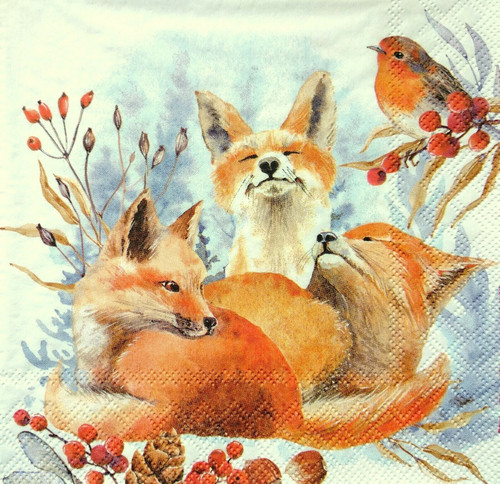 4  Vintage Paper Napkins , Lunch, Table , for Decoupage  - Happy Foxes