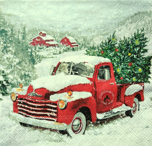 4  Vintage Paper Napkins , Lunch, Table , for Decoupage  - Christmas Truck, Car