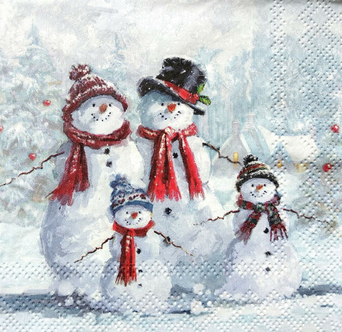 4  Vintage Paper Napkins , Lunch, Table , for Decoupage  -Winter Snowmen