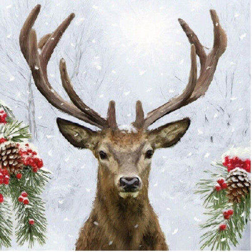 4  Vintage Paper Napkins , Lunch, Table , for Decoupage  - Deer in Winter