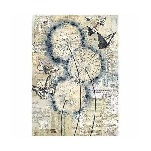 1 Sheet A4  Rice Paper for Decoupage Craft Vintage - Dandelions DFSA4374