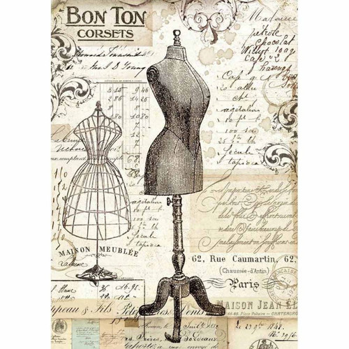 1 Sheet A4  Rice Paper for Decoupage Craft Vintage -  Bon Ton Corsets DFSA4344