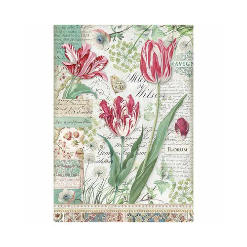 1 Sheet A4  Rice Paper for Decoupage Craft Vintage   -   Florum Tulips DFSA4354