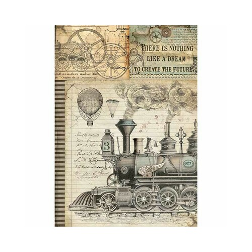 1 Sheet A4  Rice Paper for Decoupage Craft Vintage   -  Bon Voyage Train DFSA4354