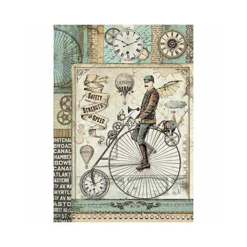 1 Sheet A4  Rice Paper for Decoupage Craft Vintage   -  Bon Voyage Bike DFSA4354