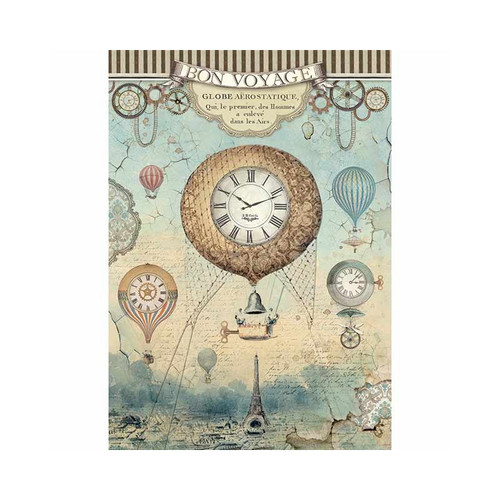 1 Sheet A4  Rice Paper for Decoupage Craft Vintage   - Bon Voyage and Clock DFSA4370