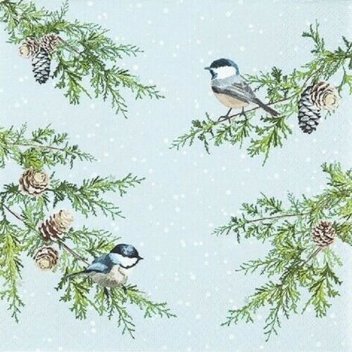4  Vintage Paper Napkins , Lunch, Table , for Decoupage    -  Birds on Branches