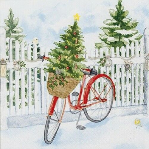 4  Vintage Paper Napkins , Lunch, Table , for Decoupage    -   Christmas Bike