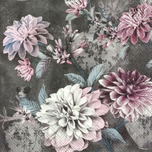 4  Vintage Paper Napkins , Lunch, Table , for Decoupage    -  Daria dark grey Floral