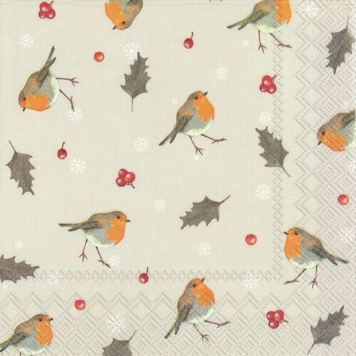 4  Vintage Paper Napkins , Lunch, Table , for Decoupage    - Little Robins linen