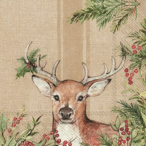 4  Vintage Paper Napkins , Lunch, Table , for Decoupage    - Christmas Deer brown