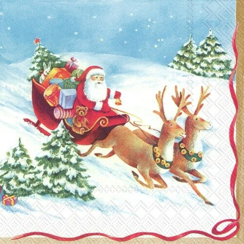 4  Vintage Paper Napkins , Lunch, Table , for Decoupage    -  HURRY UP, SANTA