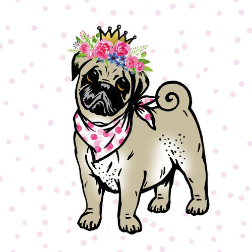 4  Vintage Paper Napkins , Lunch, Table , for Decoupage    -  Lilly Dog Pug