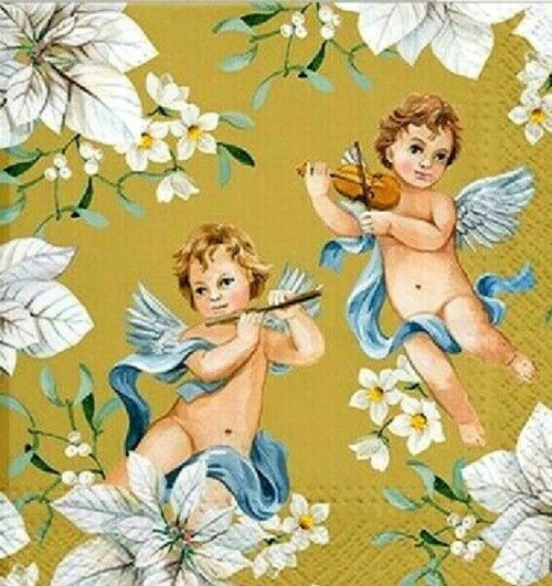 4  Vintage Paper Napkins , Lunch, Table , for Decoupage    -     Angels in Flowers gold