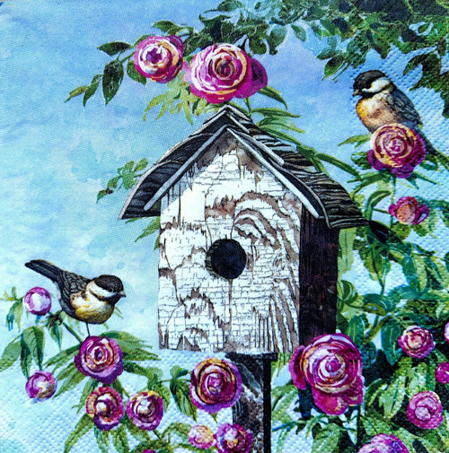 4 Lunch Paper Napkins for Decoupage Party Table Craft Vintage Magic Birdhouse