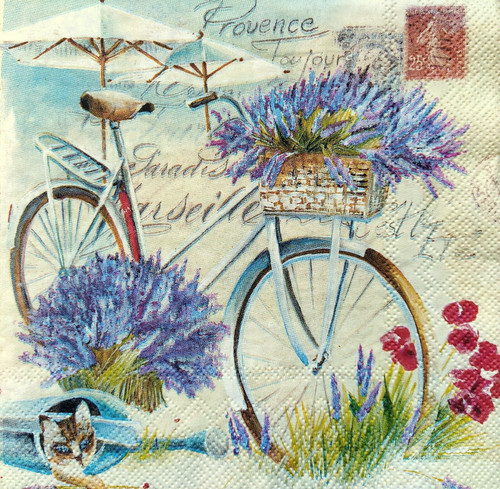 4 Lunch Paper Napkins for Decoupage Party Table Craft Vintage Lavender Bike