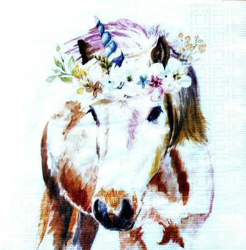 4 Lunch Paper Napkins for Decoupage Party Table Craft Vintage Floral Unicorn