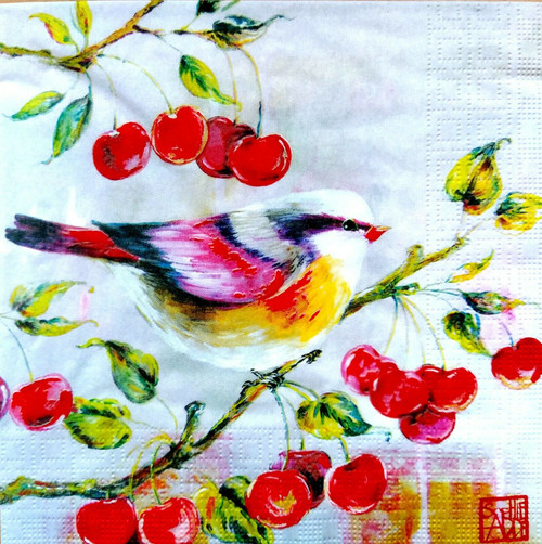 4 Lunch Paper Napkins for Decoupage Party Table Craft Vintage Cherry Birds